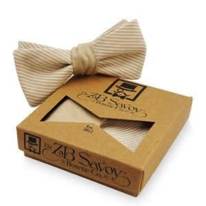 ZB Savoy Tan Cream Chambray Pinstripe Bow Tie